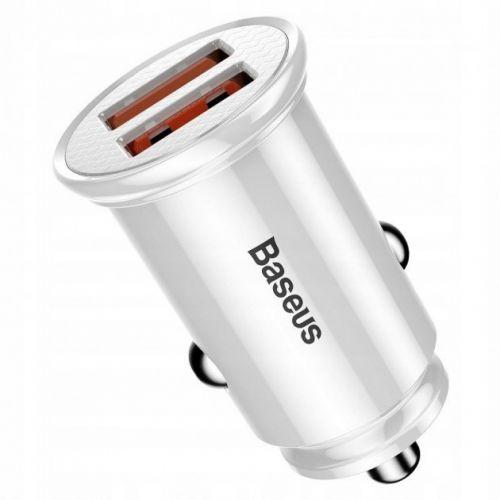 Автомобільний зарядний пристрій  Baseus Circular Plastic А+А 30W  White