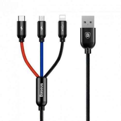 Кабель Baseus Three Primary Colors Cable USB For M+L+T 0.3m Black