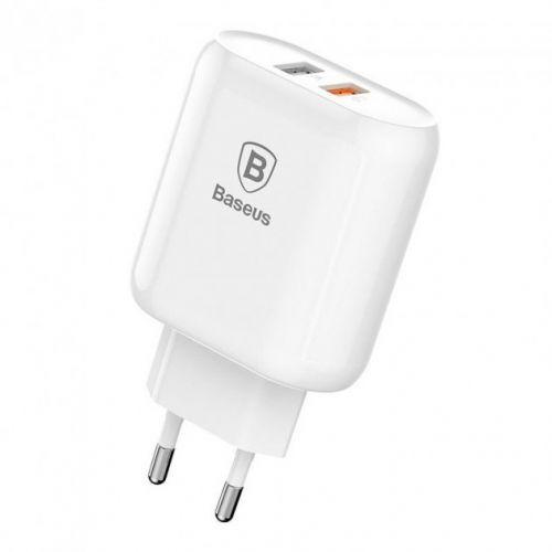 Мережевий зарядний пристрій Baseus Bojure Series Dual USB for EU White