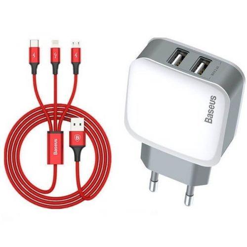 Мережевий зарядний пристрій Baseus Letour+3-in-1 Red Cable White+Silver