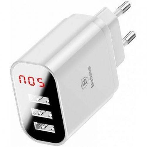 Мережевий зарядний  Baseus Mirror Lake Intelligent Digital Display White