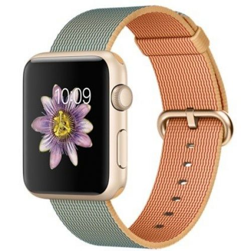 Apple Watch Sport 42mm Gold Aluminum Case with Gold/Royal Blue Woven Nylon (MMFQ2)