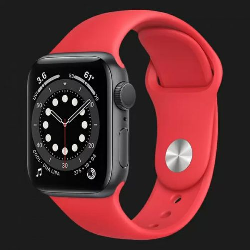 Apple Watch Series SE 44mm Space Gray with Red Sport Band