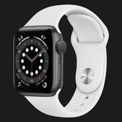 Apple Watch Series SE 44mm Space Gray with White Sport Band