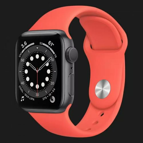 Apple Watch Series SE 44mm Space Gray with Pink Citrus Sport Band