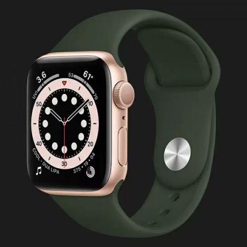 Apple Watch Series SE 44mm Gold with Cyprus Green Sport Band