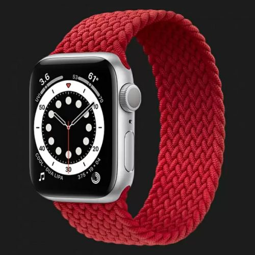 Apple Watch Series SE 44mm Silver with Red Braided Solo Loop