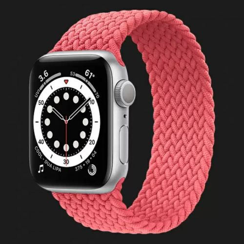 Apple Watch Series SE 44mm Silver with Pink Punch Braided Solo Loop