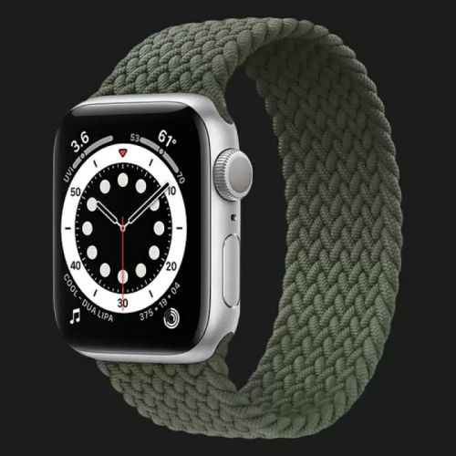 Apple Watch Series SE 44mm Silver with Inverness Green Braided Solo Loop