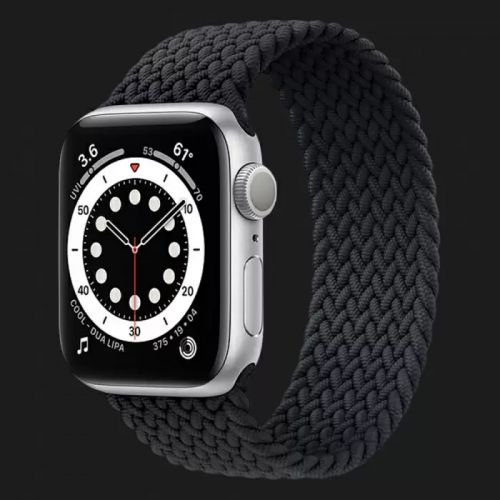 Apple Watch Series SE 44mm Silver with Charcoal Braided Solo Loop