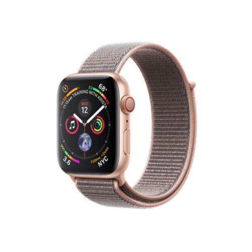 Apple Watch Series 4 GPS + Cellular 40mm Gold Aluminum Case with Pink Sand Sport Loop (MTUK2)