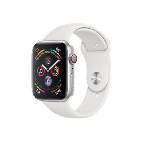Apple Watch Series 4 GPS + Cellular 40mm Silver Aluminum Case with White Sport Band (MTUD2)