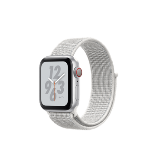 Apple Watch Nike+ Series 4 GPS + Cellular 40mm Silver Aluminum Case with Summit White Nike Sport Loop (MTX72)