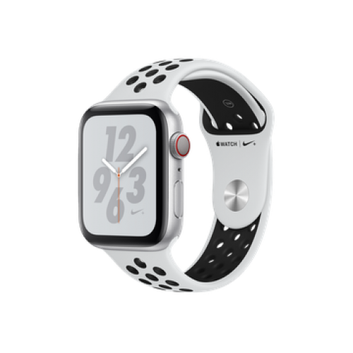 Apple Watch Nike+ Series 4 GPS + Cellular 44mm Silver Aluminum Case with Pure Platinum/Black Nike Sport Band (MTXC2)