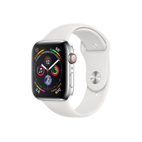 Apple Watch Series 4 GPS + Cellular 44mm Stainless Steel Case with White Sport Band (MTV22)