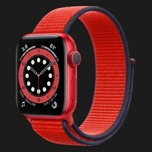 Apple Watch Series 6 40mm Blue Aluminum Case with Red Braided Solo Loop