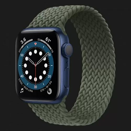 Apple Watch Series 6 40mm Blue Aluminum Case with Inverness Green Braided Solo Loop