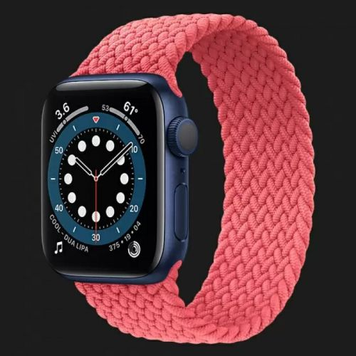 Apple Watch Series 6 44mm Blue Aluminum Case with Pink Punch Braided Solo Loop