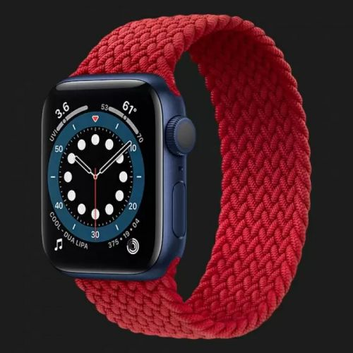 Apple Watch Series 6 44mm Blue Aluminum Case with Red Braided Solo Loop