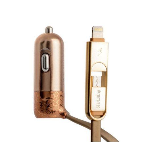 Комплект прикурювач Remax Finchy Lightning/Micro USB + USB 3.4a (Gold)