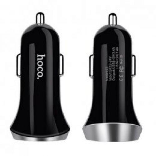Прикурювач Hoco Z6 2xUSB 2.4a (Black)