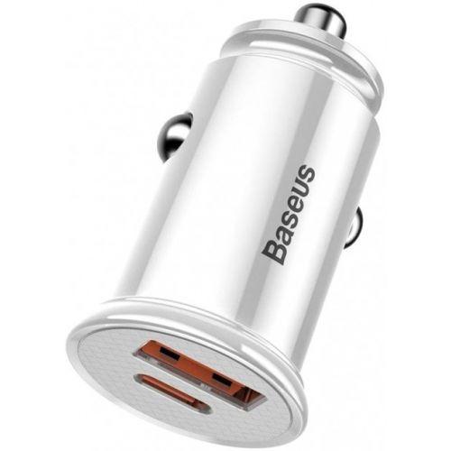 Автомобільний зарядний пристрій Baseus Circular Plastic A+C 30W White