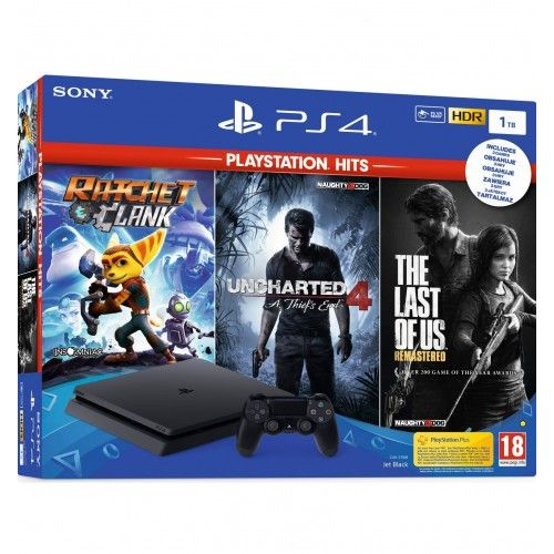 Sony PlayStation 4 Slim (PS4 Slim) 1TB + Ratchet & Clank + The Last of Us + Uncharted 4