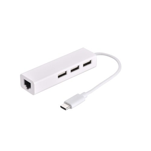 Адаптер Devia Multiport Leopard USB-C to 3xUSB3.0+RJ45 (White)