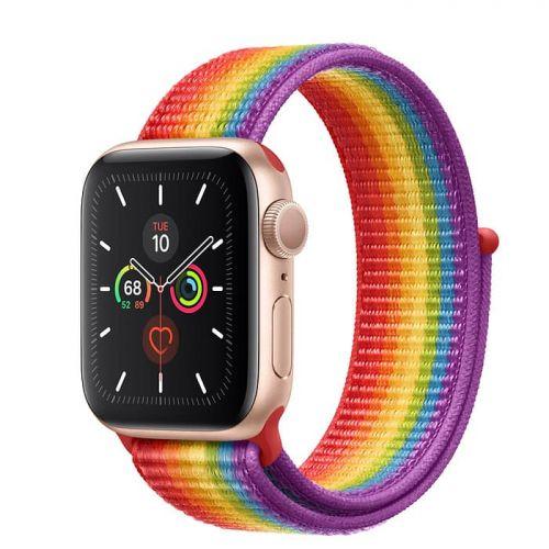 Apple Watch Series 5 40mm Gold Aluminium Case with Pride Sport Loop (MV9Q2)