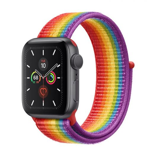 Apple Watch Series 5 44mm Space Gray Aluminium Case with Pride Sport Loop (MV9T2)