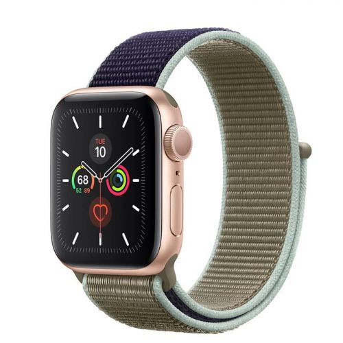 Apple Watch Series 5 40mm Gold Aluminium Case with Khaki Sport Loop (MWTT2)