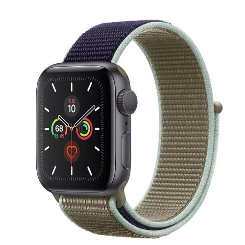 Apple Watch Series 5 40mm Space Gray Aluminium Case with Khaki Sport Loop (MWTT2)