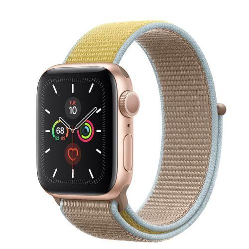 Apple Watch Series 5 40mm Gold Aluminium Case with Camel Sport Loop (MWTU2)
