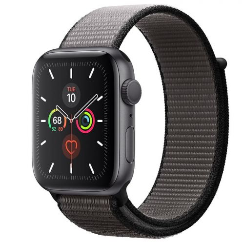 Apple Watch Series 5 44mm Space Gray Aluminium Case with Anchor Gray Sport Loop (MWTY2)