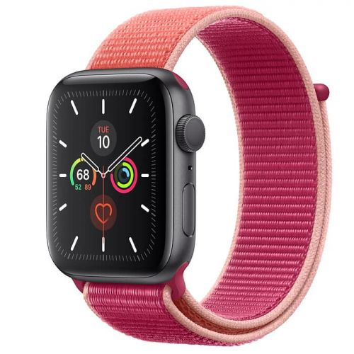 Apple Watch Series 5 40mm Space Gray Aluminium Case with Pomegranate Sport Loop (MWTR2)