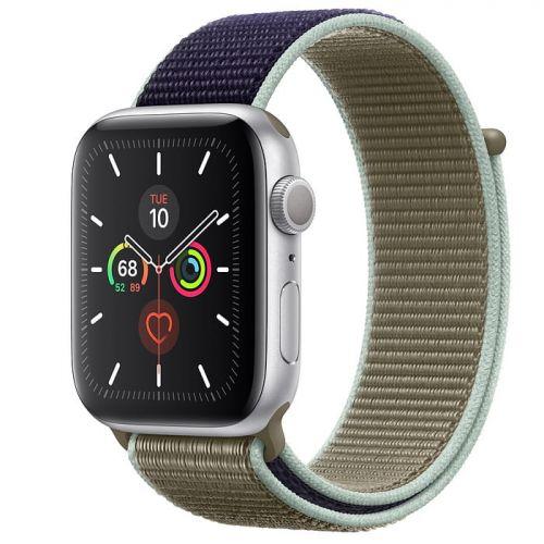 Apple Watch Series 5 44mm Silver Aluminium Case with Khaki Sport Loop (MWU12)