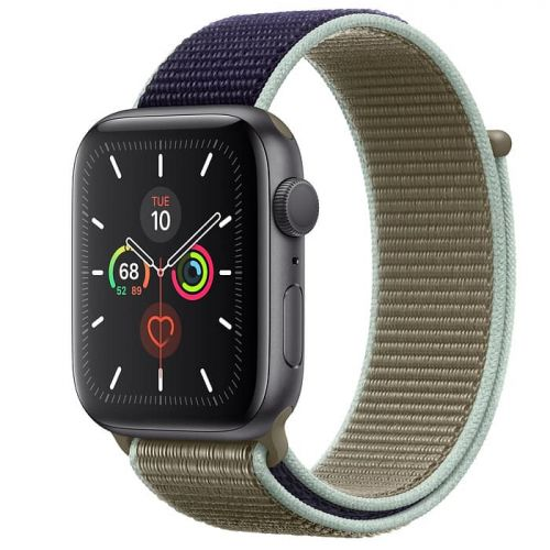 Apple Watch Series 5 44mm Space Gray Aluminium Case with Khaki Sport Loop (MWU12)