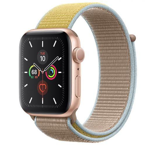 Apple Watch Series 5 44mm Gold Aluminium Case with Camel Sport Loop (MWU22)