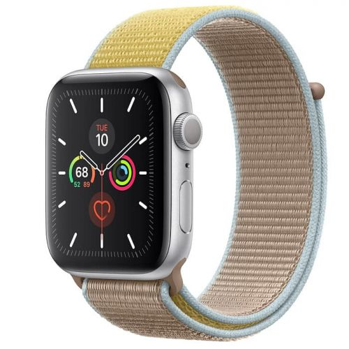 Apple Watch Series 5 40mm Silver Aluminium Case with Camel Sport Loop (MWTU2)