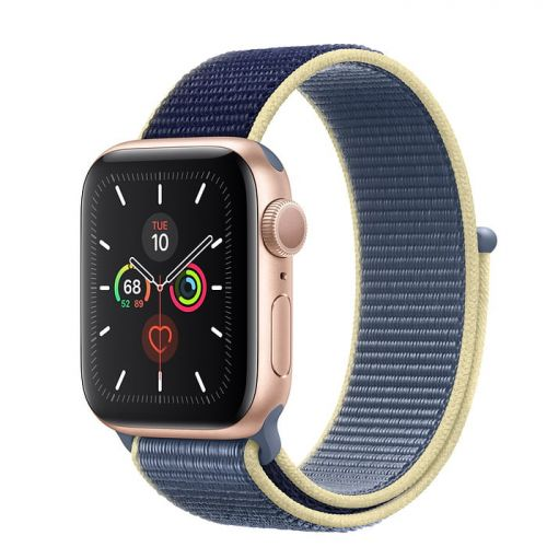 Apple Watch Series 5 40mm Gold Aluminium Case with Alaskan Blue Sport Loop (MX3M2)