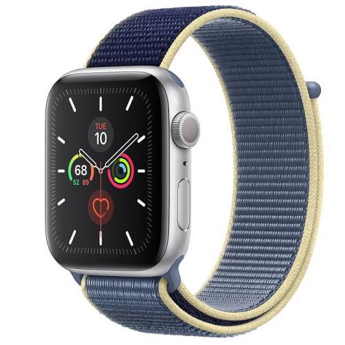 Apple Watch Series 5 44mm Silver Aluminium Case with Alaskan Blue Sport Loop (MX3P2)