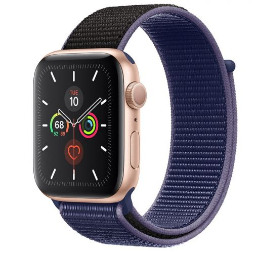 Apple Watch Series 5 44mm Gold Aluminium Case with Midnight Blue Sport Loop (MX3Q2)