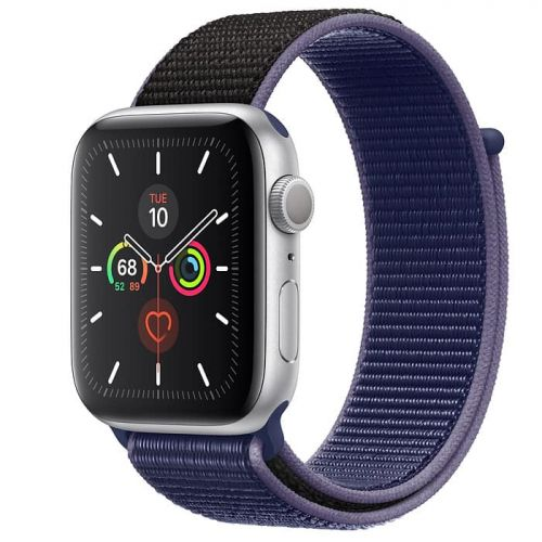Apple Watch Series 5 40mm Silver Aluminium Case with Midnight Blue Sport Loop (MX3N2)