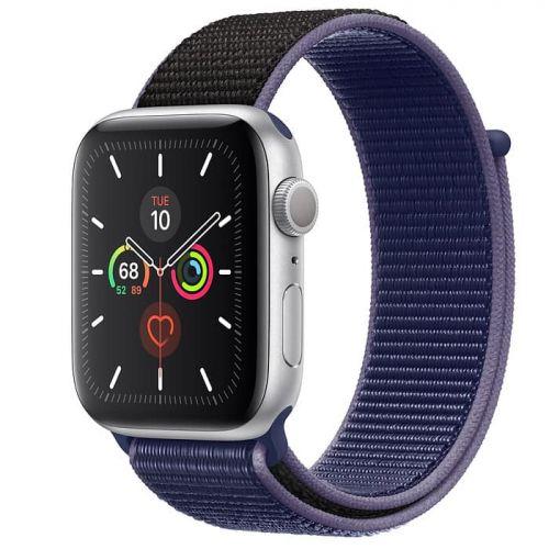 Apple Watch Series 5 44mm Silver Aluminium Case with Midnight Blue Sport Loop (MX3Q2)