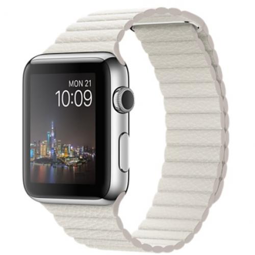 Ремінець для Apple Watch 42mm Leather Loop Series 1:1 Original (White)